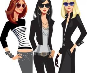 Vector fashion girls design elements set 12