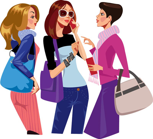 Vector fashion girls design elements set 13