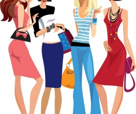 Vector fashion girls design elements set 14
