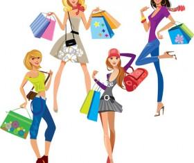 Vector fashion girls design elements set 16