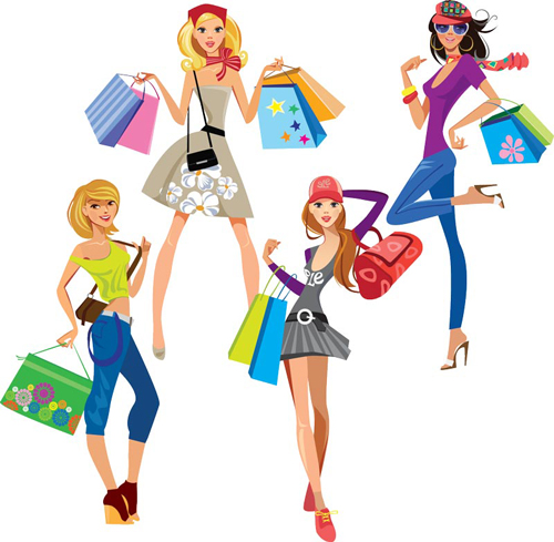 Vector fashion girls design elements set 16