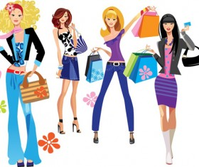 Vector fashion girls design elements set 17