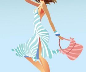 Vector fashion girls design elements set 19