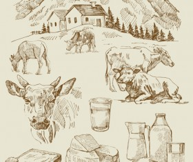 Village and dairy cow with bread vector
