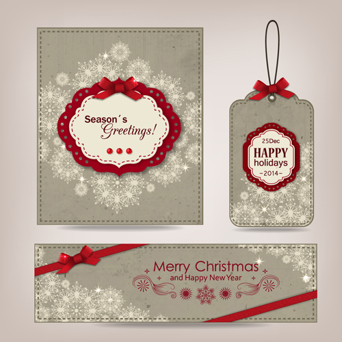 Vintage christmas card with banner and tag vector
