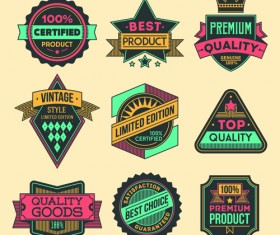 Vintage colored label high quality vector material 05