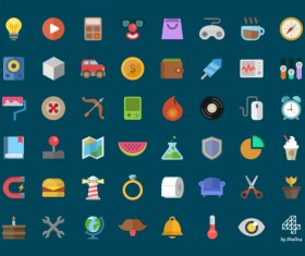 Vintage colorful flat icons set