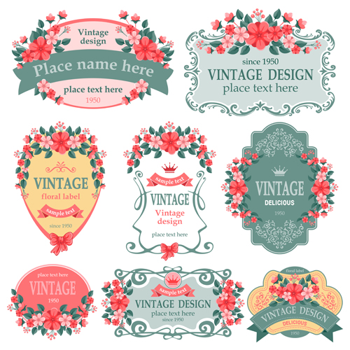 Vintage floral labels vector graphics