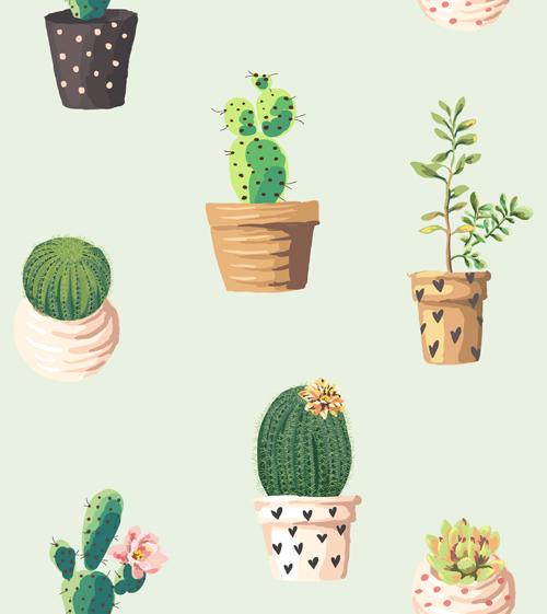 Vintage plant seamless pattern vectors 02