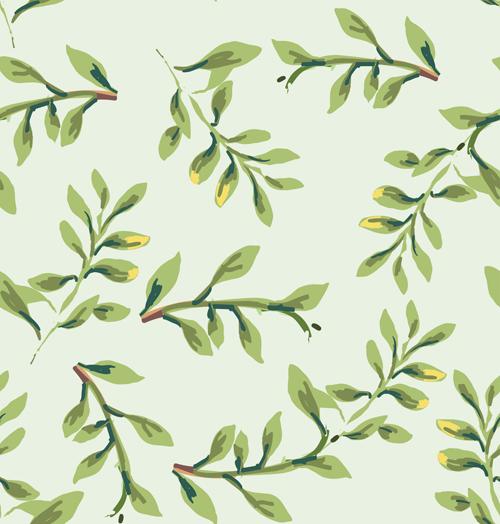 Vintage plant seamless pattern vectors 05