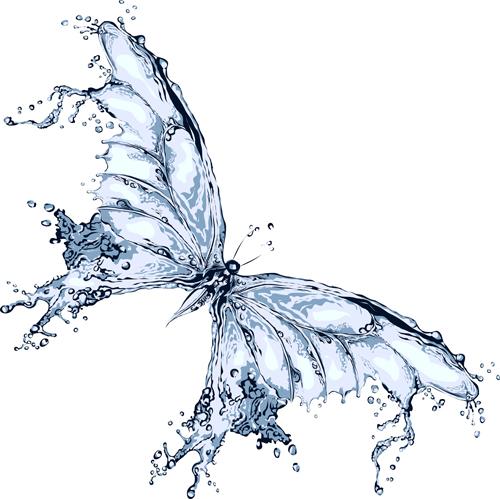 Water Design Vector Water Butterfly Vector Design