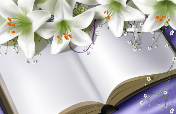 White lilies and book psd graphics