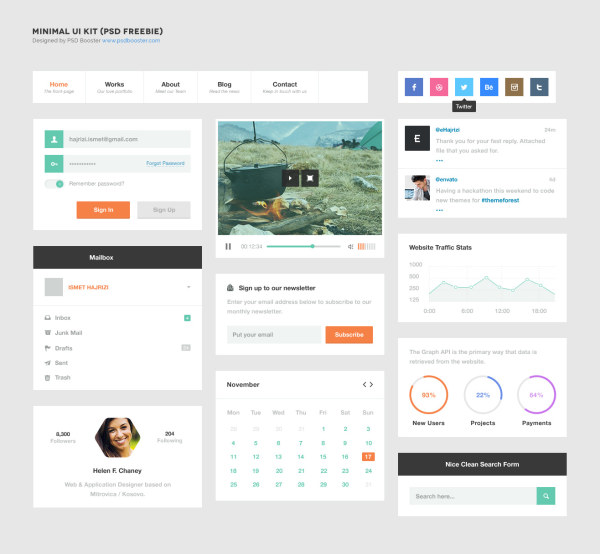 White style website template UI kit