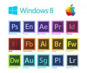 Windown 8 adobe file icons vector