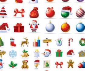 Cartoon Christmas icons set