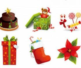 Vector Beautiful Cartoon Christmas icons