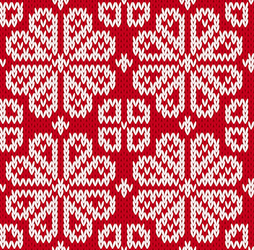 knitted fabric christmas pattern vector set 01