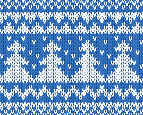 knitted fabric christmas pattern vector set 02