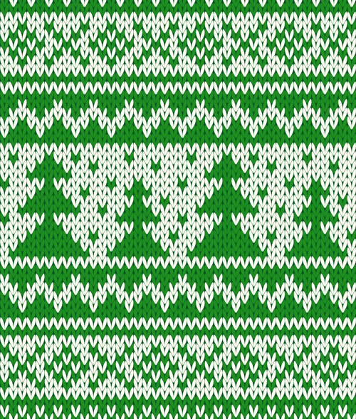knitted fabric christmas pattern vector set 03