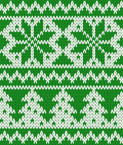 knitted fabric christmas pattern vector set 04