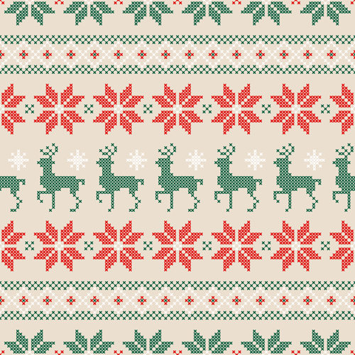 knitted fabric christmas pattern vector set 05