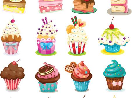 Vector Cartoon cupcakes icons
