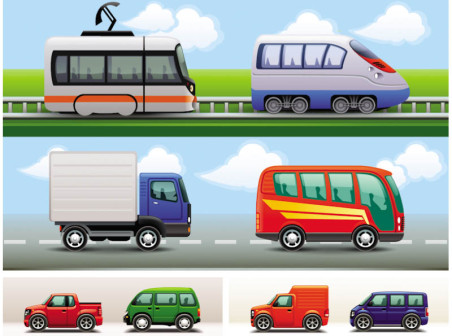 Cartoon cars vector icons
