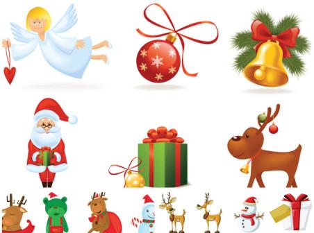 Cartoon Santa Claus icons vector clipart