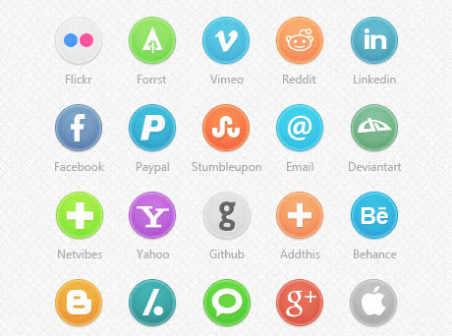 35 Social Media icons in PSD