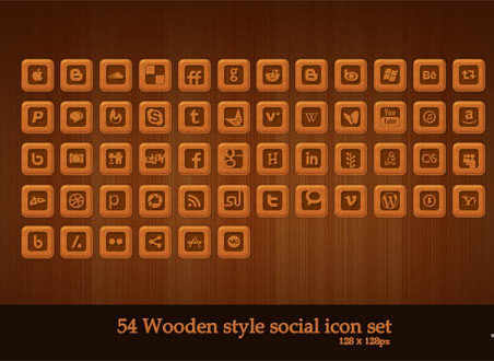 Wooden style social icon set