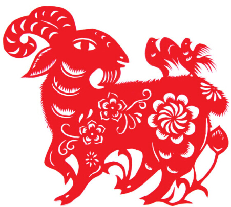Goat year paper cut vector