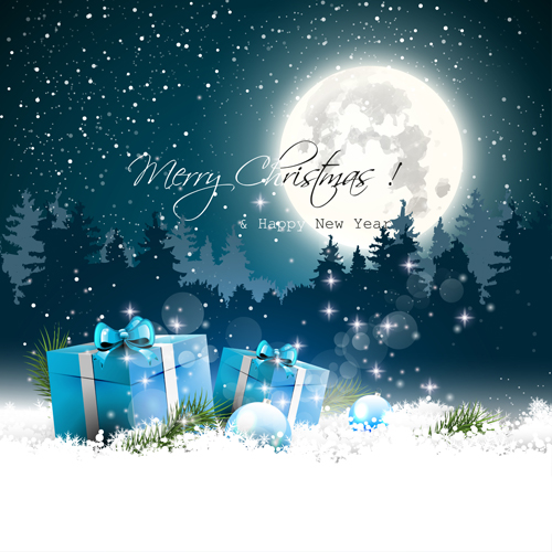 2015 christmas and new year night background vector 02