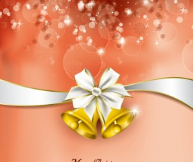 2015 christmas bow and bell vector cards 02