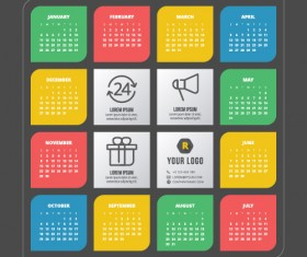 2015 colored calendars modern style vector