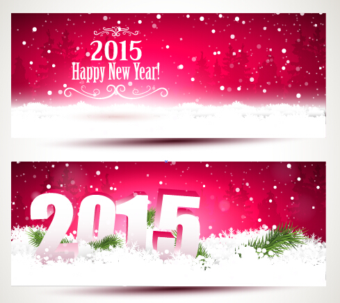2015 happy new year winter banners vector 01
