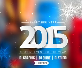 2015 new year blurs backgrounds vector set 03