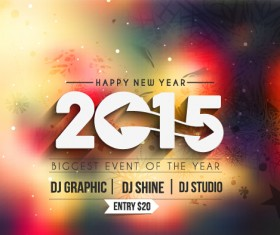 2015 new year blurs backgrounds vector set 09
