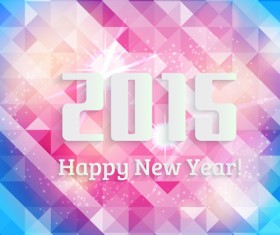 2015 new year with polygonal background vector