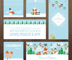 2015 xmas and new year greeting cards kit vector 01