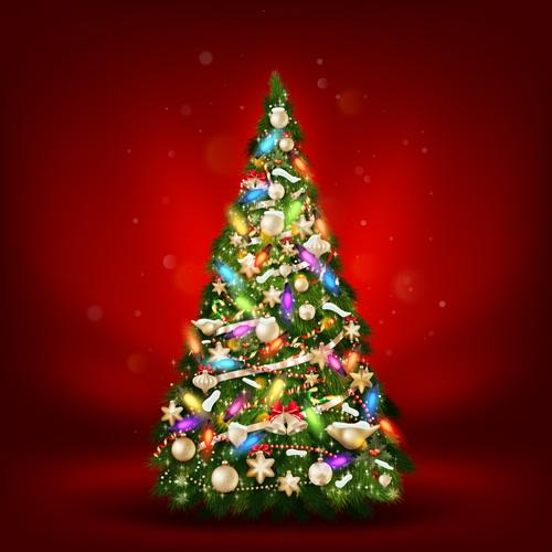 Beautiful Christmas tree 2015 background vector 01
