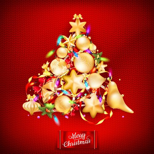 Beautiful Christmas tree 2015 background vector 05