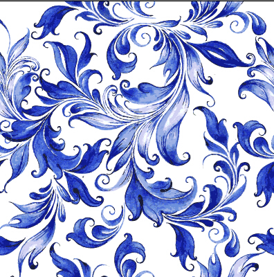 Beautiful blue floral vector seamless pattern 01