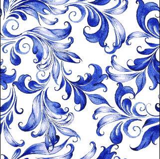 Beautiful blue floral vector seamless pattern 04