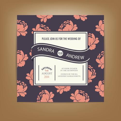Beige floral wedding cards vectors 04