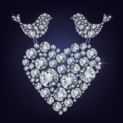 Birds with heart diamonds vector