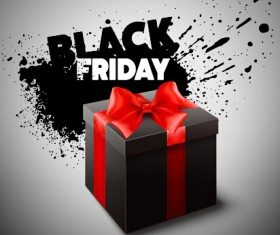 Black friday gift box with grunge background vector