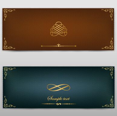 Blank banner ornate decor vector 09