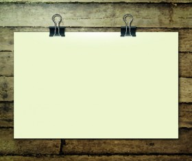 Blank paper and paper clip background vector 01