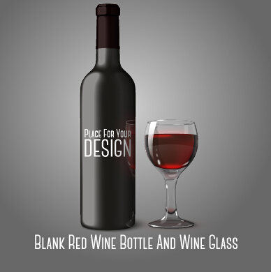 blank red wine bottle and wine glass vector bottle red wine