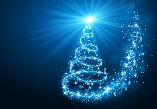 Blue rays christmas tree 01 vector background